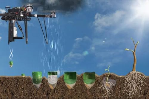 Bomen planten met een drone als vliegende zaaimachine. Bron en copyright: http://www.biocarbonengineering.com.
