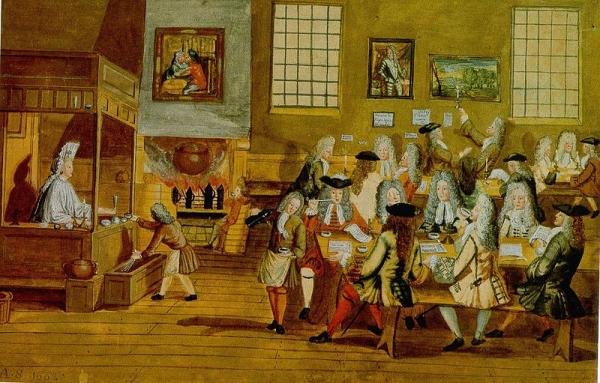 Interieur van en Londens koffiehuis, 17e eeuw. Public Domain. Bron: Wikimedia Commons.
