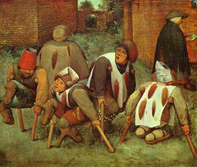 Afgevallen ledematen door moederkoren. Schilderij: Pieter Bruegel de oudere; copyright verlopen; Public Domain.