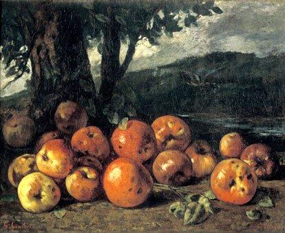 Stilleven met appels. Schilder: Gustave Courbet; Copyright verlopen, Public Domain; Bron: Cultuurwijzer.nl.